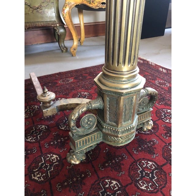 C. 1900 Neo Classical Brass Pillar Fireplace Andirons - a Pair For Sale - Image 9 of 13