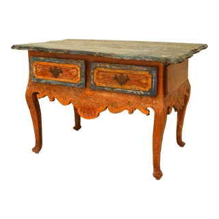 Rustic Continental 'Portuguese' 18th Century Orange and Blue Painted Commode For Sale