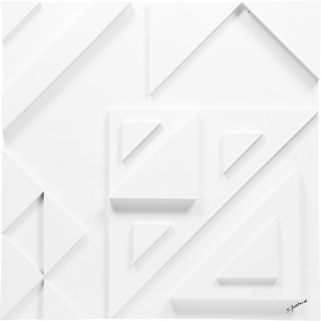 Vector Multi-Level White Wood Wall Panel For Sale