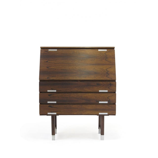 Kai Kristiansen Rosewood Secretary With Aluminum Inlaid Pulls For Sale In San Francisco - Image 6 of 13