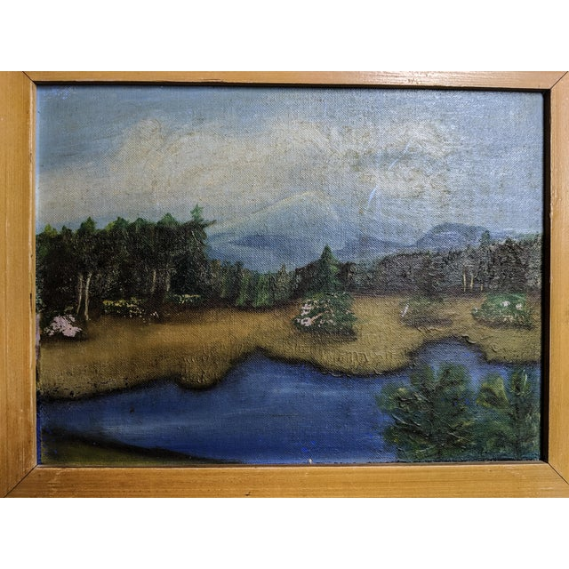 Farmhouse Charming Antique Oil Landscapes With Wood Frames. Pair of 2 For Sale - Image 3 of 5