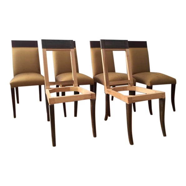 Sergio Savarese Dialogica High Back Wood and Fabric Dining Chairs - Set of 6 For Sale