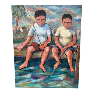 "1998 Nautical ""Fishing Buddies"" Oil Painting For Sale"
