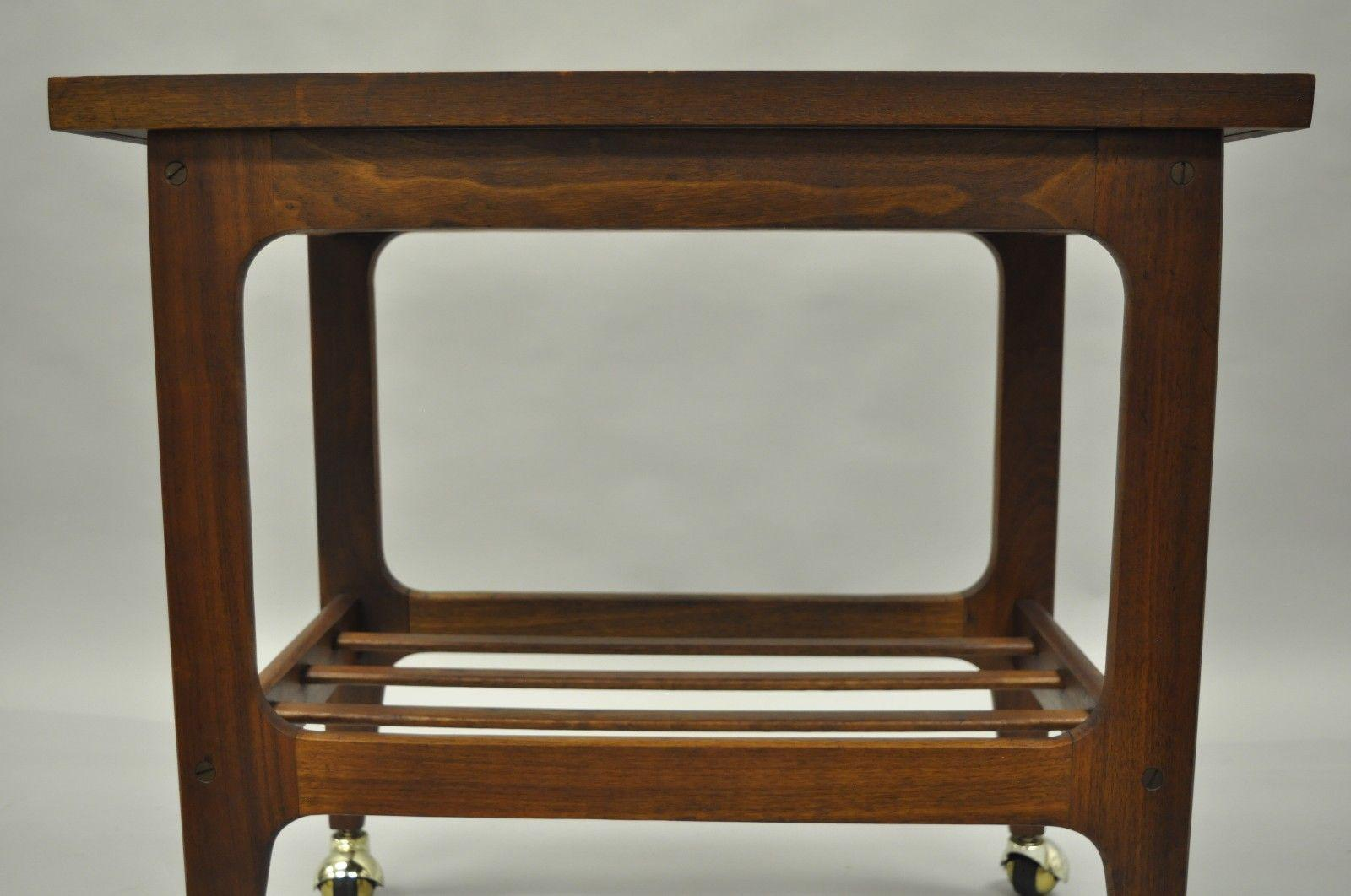 Vintage Mid Century Modern Walnut U0026 Laminate Rolling Bar Cart End Table  Danish Style   Image