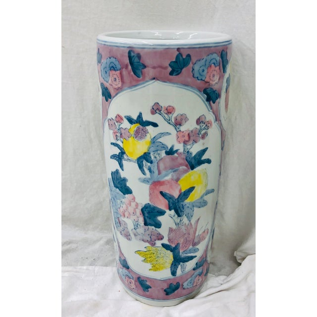 Stunning Vintage Painted Ceramic Umbrella Stand / Vase. Beautiful colorful pattern! Original finish fittings and frame....