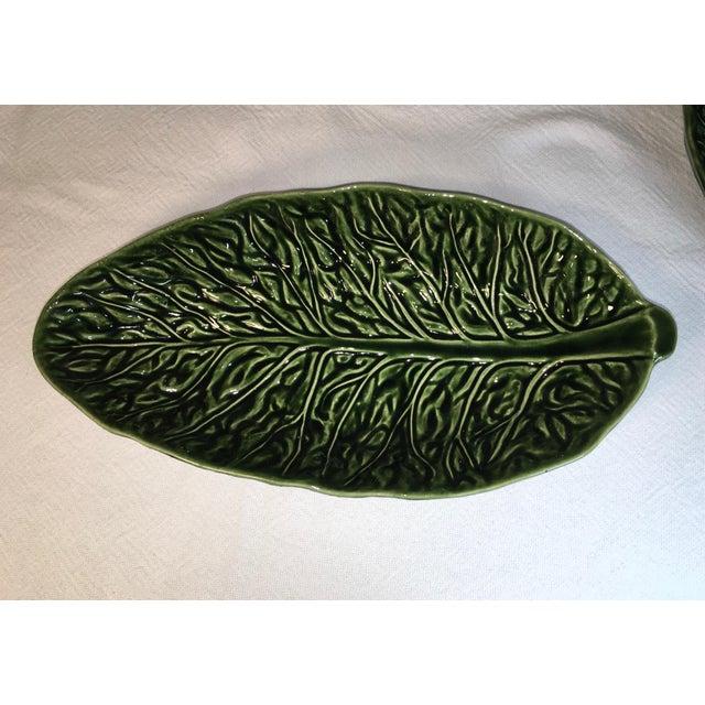 Vintage Majolica Cabbage Leaf Serving Bowls - a Pair For Sale - Image 4 of 8