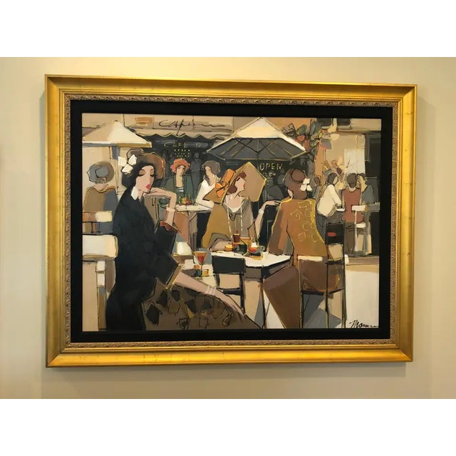 Very Large Original French Cafe Scene Painting by Isaac Maimon For Sale - Image 11 of 11