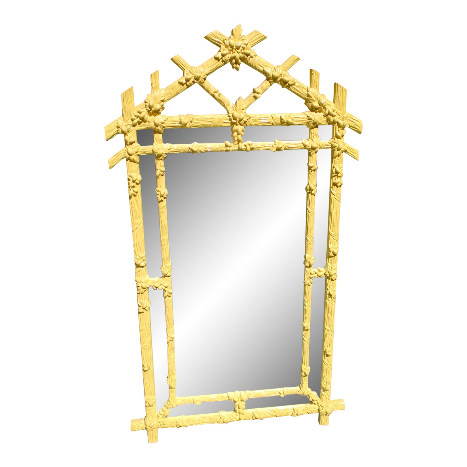 Gampel Stoll Yellow Faux Bois Wall Mirror | Chairish