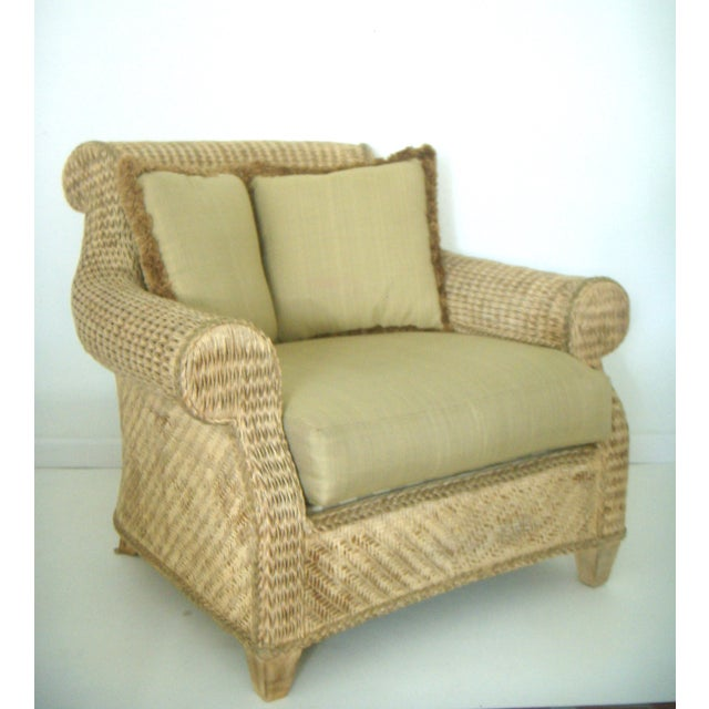 Pair of sumptuous oversized, well constructed high quality armchairs made from natural rattan/wicker with matching...
