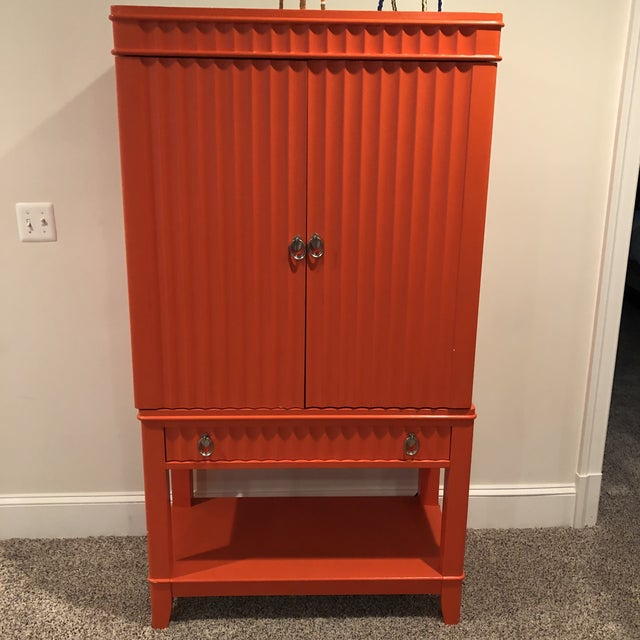 Art Deco Orange Painted Bar Cabinet For Sale - Image 10 of 13