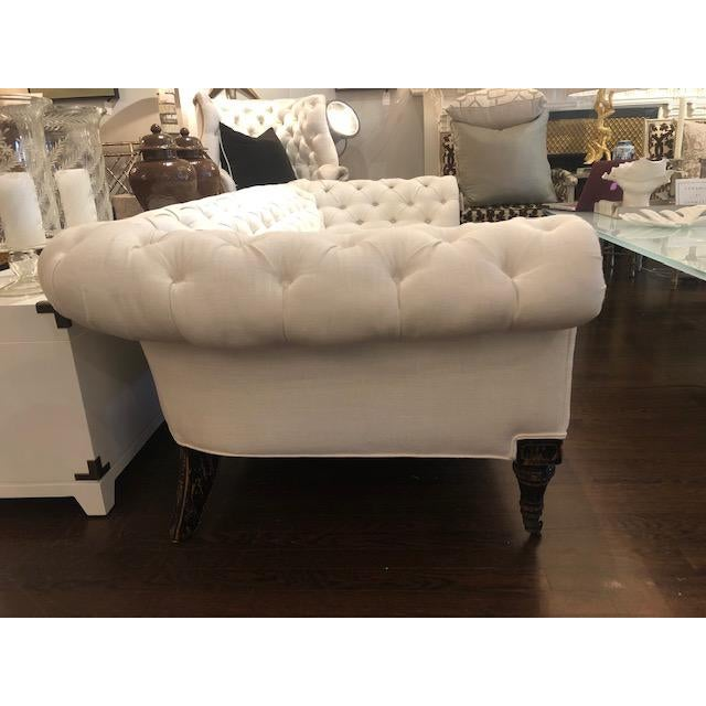 Transitional 1920's Vintage Tufted Chesterfield Sofa For Sale - Image 3 of 5