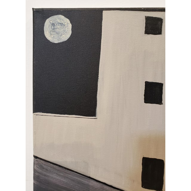 Contemporary Contemporary Painting of Old Silo Building at Night Downtown Dallas For Sale - Image 3 of 6