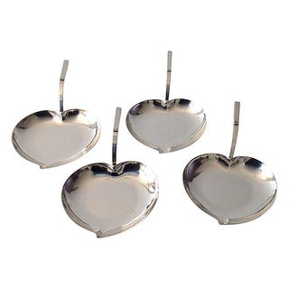 Silver Heart-Shaped Nut Plates - Set of 4