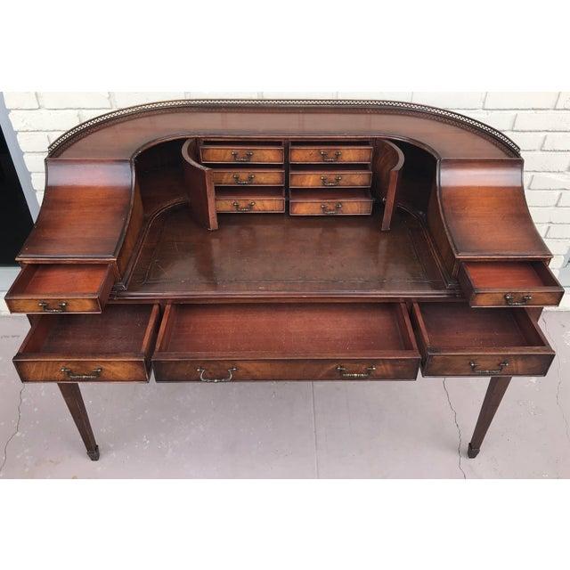 Animal Skin Vintage Kittinger Harpsichord Desk With Chair For Sale - Image 7 of 11