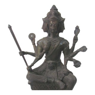 Mid-Century Bronze Vishnu Sculpture For Sale