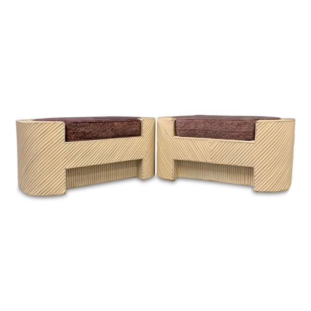 Mid-Century Split Reed Bamboo Upholstered Benches- A Pair For Sale - Image 10 of 10
