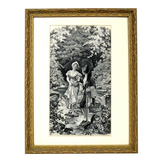 Antique French Silk Textile Art For Sale