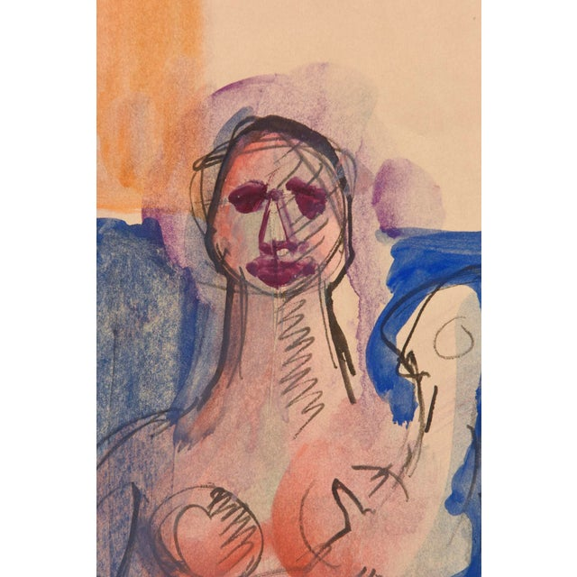 Signed Chamberlin Vintage One of Kind Nude/Abstract/ Figure Watercolor Custom Framed - Image 4 of 9