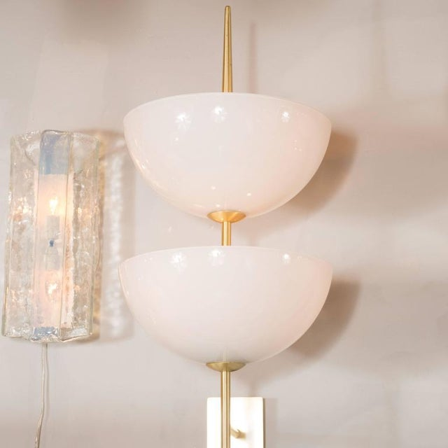 Monumental Murano Milk Glass and Brass Reverse Dome Trophy Sconces - a Pair For Sale - Image 4 of 9