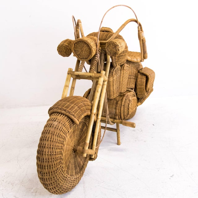 1960s Lifesize Woven Rattan Motorcycle For Sale - Image 4 of 9