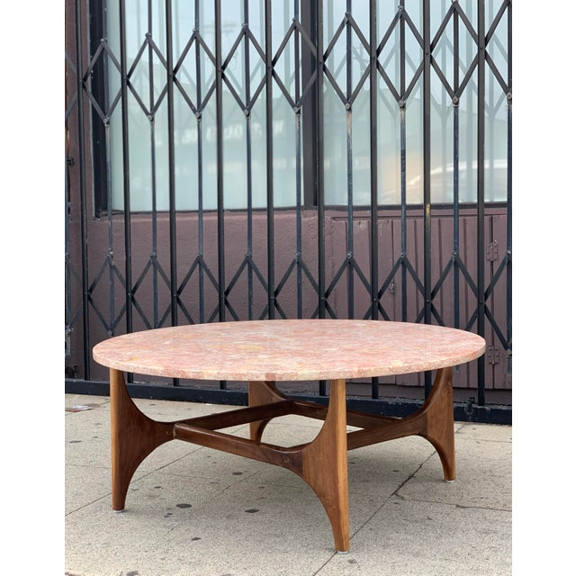 Rose Marble Top With Walnut Base Coffee Table For Sale - Image 13 of 13
