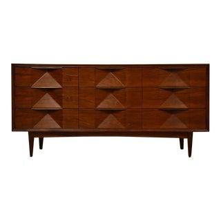 Walnut & Brass Long Concave Dresser