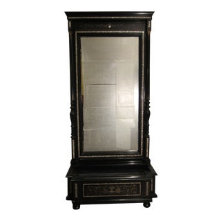 19th Century Antique Napoleon III Trumeau Mirror With Boulle and Mother of Pearl Inlay For Sale