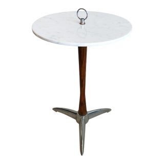 Period Art Deco Wood Marble Aluminum Side Table Smoking Table For Sale