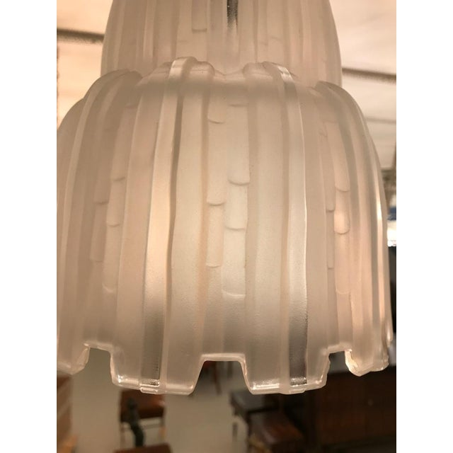 French Art Deco Waterfall Chandeliers Signed by Sabino - a Pair For Sale - Image 9 of 11