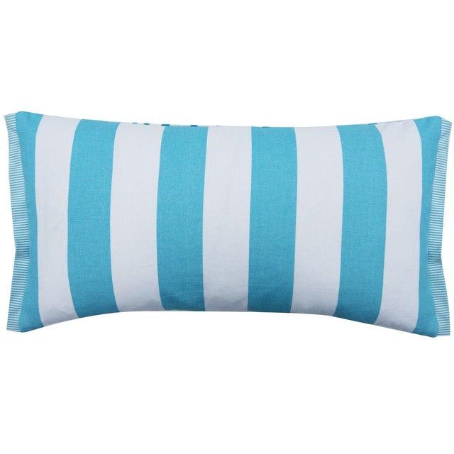 Lee Jofa Contemporary Hutch Print Aqua Bunny Fabric Lumbar Pillow - 11x21 For Sale - Image 4 of 7