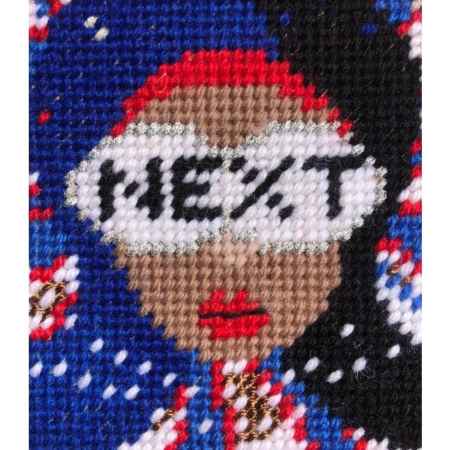 "Original ""Next"" Needlepoint Objet d'Art Pillow Box, Custom Made For Sale - Image 6 of 8"