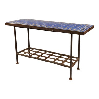 Antique Spanish Mosaic Blue Tile Top & Wrought Iron Garden Console Table For Sale