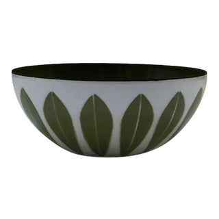 Mid-Century Catherineholm Small Lotus Bowl in White and Green For Sale
