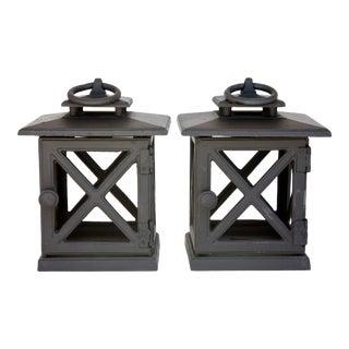1980s Black Iron / Steel Lanterns - a Pair For Sale
