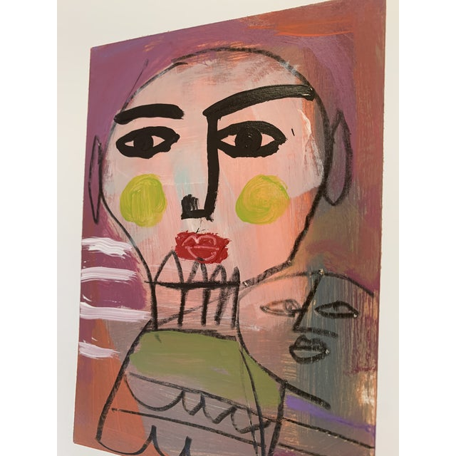 An original modern FACE abstract art piece. Nice details. Completed in 2020, this is an abstract painting on quality paper...