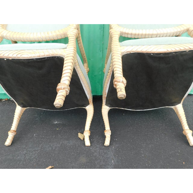 Hollywood Regency Carved Knotted & Twisted Rope Bergere Chairs - a Pair For Sale - Image 10 of 11