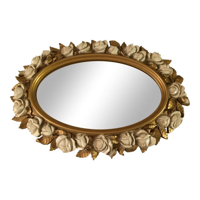 Vintgage Oval Homco Roses Ornate Mirror - Image 1 of 7