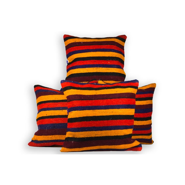 """Red Striped Matching 20"""" Kilim Pillows - Set of 4 - Image 2 of 3"""