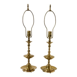Vintage Georgian Brass Candlestick Lamps - a Pair For Sale