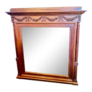 19th Century French Renaissance Revival Hand Carved Walnut Mirror For Sale