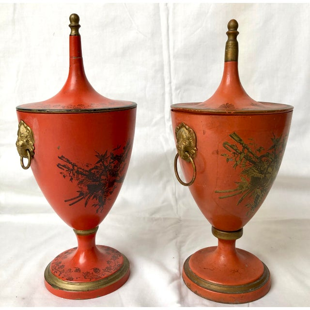 Wonderful set of two Italian Vintage, C.1950 Red Tole Lidded Urns. I don't say a pair as they are slightly different but...