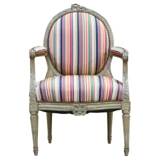 Louis XVI Style Chair with Stripe Upholstery For Sale