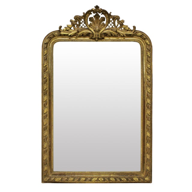 A Fine French Water Gilded Overmantle Mirror For Sale - Image 4 of 4