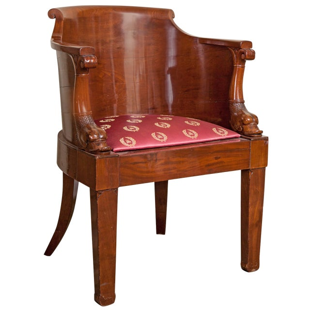Early 19th Century Empire Solid Mahogany Desk Chair For Sale