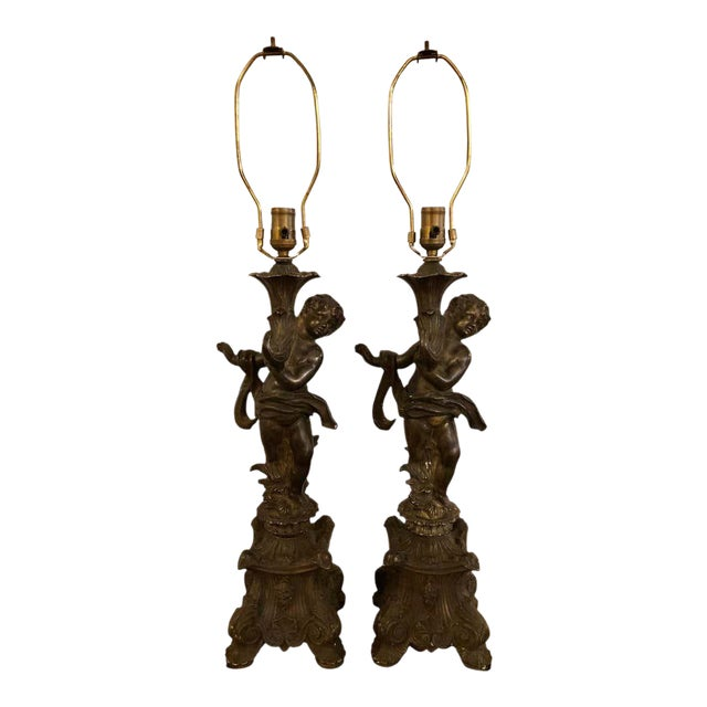 Bronze Patinated Putti Table Lamps - a Pair For Sale