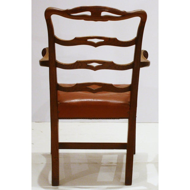 English Host Chair / Ladderback Arm-Chair With British Tan Saddle Leather Seat For Sale - Image 4 of 6