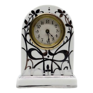 Antique Silver Overlay Porcelain Tabletop Clock For Sale