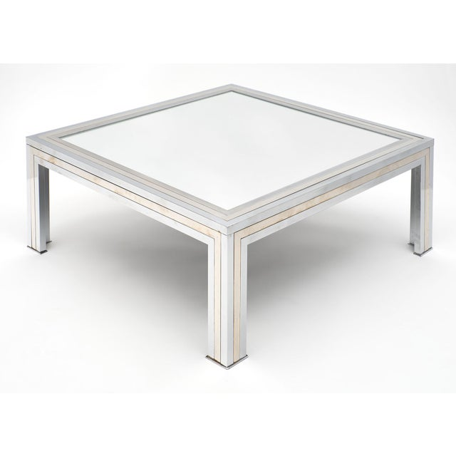French Chrome and Mirror Vintage French Coffee Table For Sale - Image 3 of 10