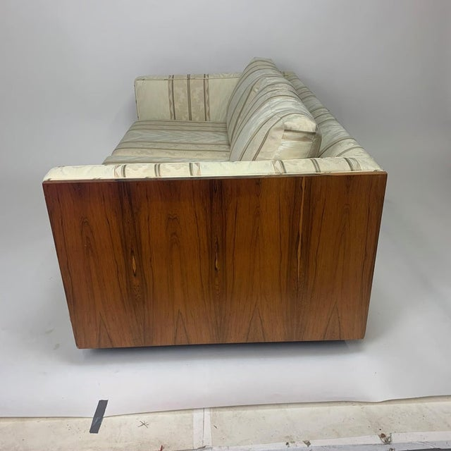 Milo Baughman Floating Cased Rosewood Tuxedo Sofas / Settees - a Pair For Sale - Image 10 of 13