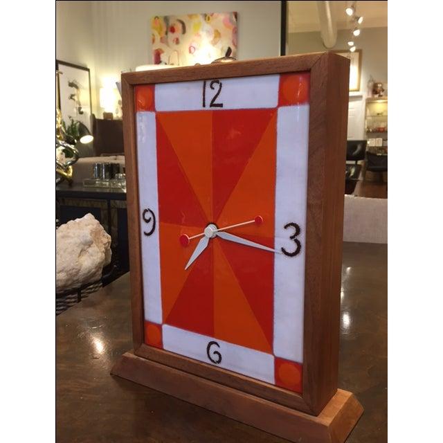 Vintage Modern Enamel on Copper Clock - Image 5 of 8